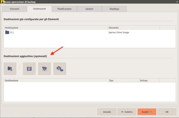 destinazioni per il backup drive image